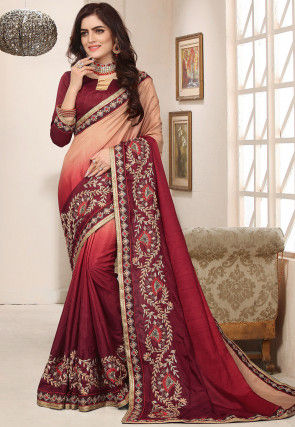 Ombre Art Silk Saree in Maroon and Peach