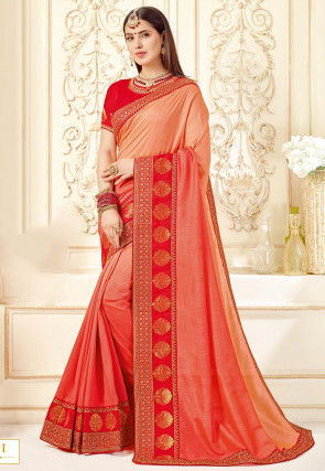 Ombre Art Silk Saree in Peach