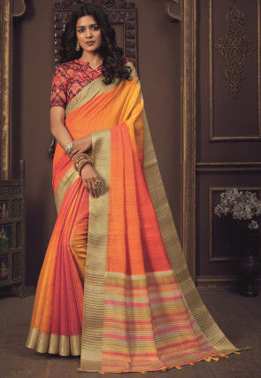 Ombre Art Silk Saree in Shaded Yellow and Peach