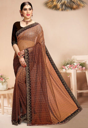 Ombre Chantelle Net Saree in Brown