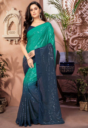 Ombre Chiffon Saree in Green and Dusty Blue