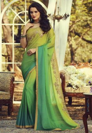 Ombre Chiffon Saree in Green