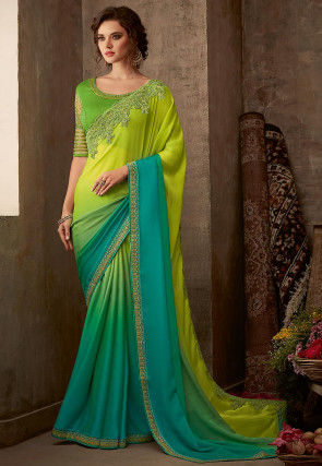 Ombre Chiffon Saree in Light Green and Turquoise