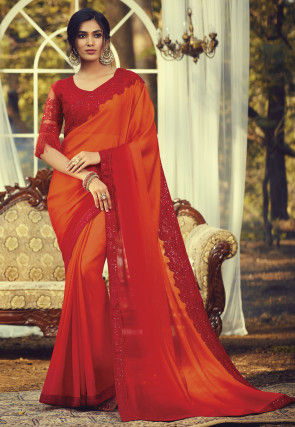 Ombre Chiffon Saree in Orange and Red