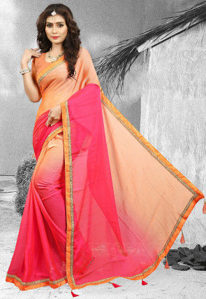 Ombre Chiffon Saree in Peach and Fuchsia