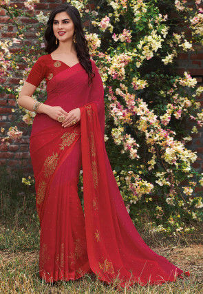 Ombre Chiffon Saree in Red and Fuchsia