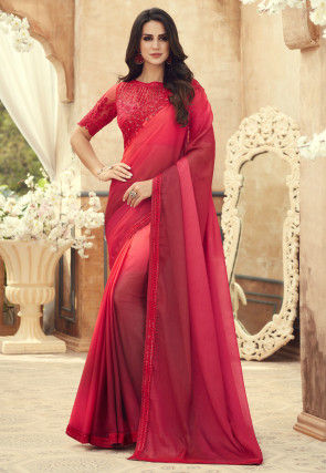 Ombre Chiffon Saree in Red