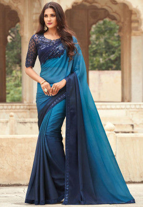 Ombre Chiffon Saree in Shaded Blue