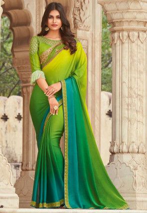 Ombre Chiffon Saree in Shaded Green and Blue