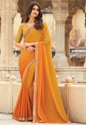 Ombre Chiffon Saree in Shaded Mustard and Orange