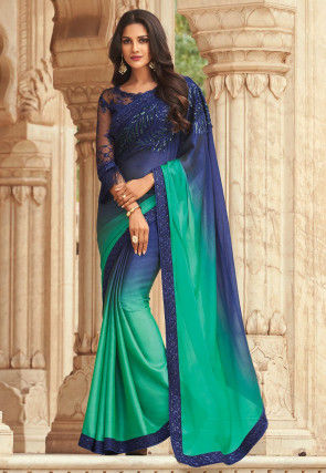 Ombre Chiffon Saree in Shaded Navy Blue and Teal Green