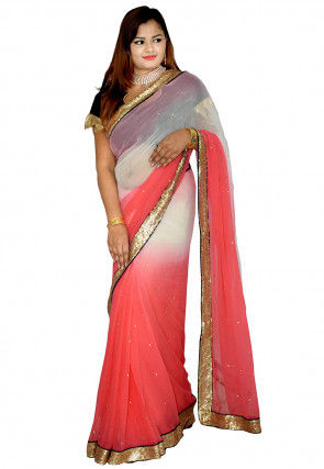 Ombre Chiffon Saree in Shaded Off White and Peach