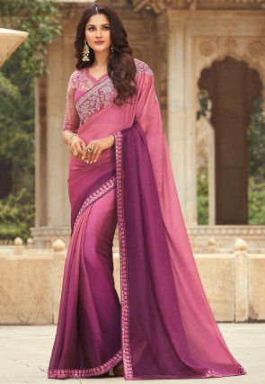 Ombre Chiffon Saree in Shaded Pink and Purple