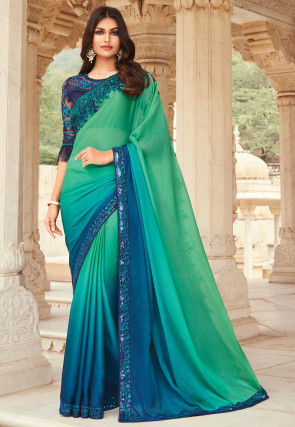 Ombre Chiffon Saree in Shaded Teal Green and Blue