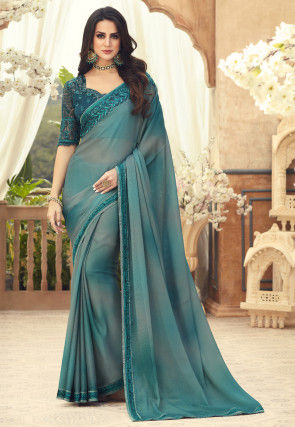 Ombre Chiffon Saree in Teal Blue and Grey