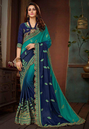 Ombre Chiffon Saree in Teal Blue and Navy Blue