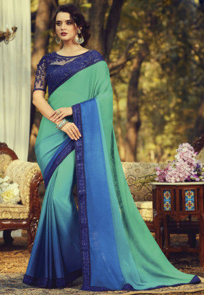 Ombre Chiffon Saree in Teal Green and Blue