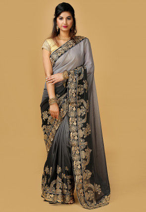 Ombre Chinon Crepe Saree in Grey and Black