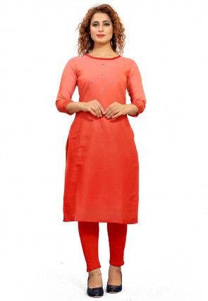Ombre Cotton Straight Kurta in Orange
