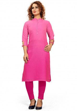 Ombre Cotton Straight Kurta in Pink