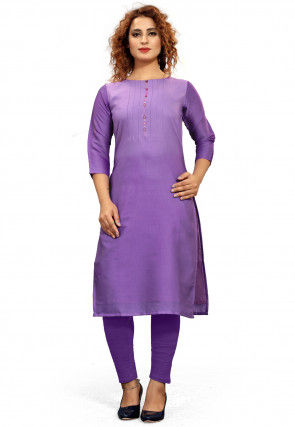 Ombre Cotton Straight Kurta in Purple