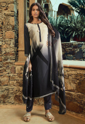 Ombre Crepe Pakistani Suit in Black and Beige