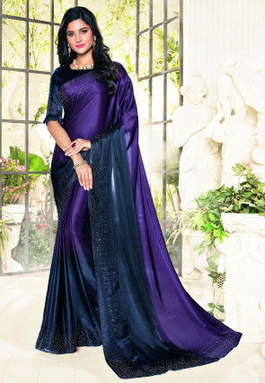Ombre Crepe Saree in Purple and Navy Blue