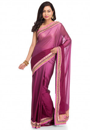 Ombre Crepe Saree in Purple