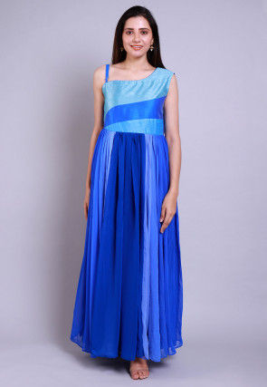 Ombre Georgette Gown in Blue