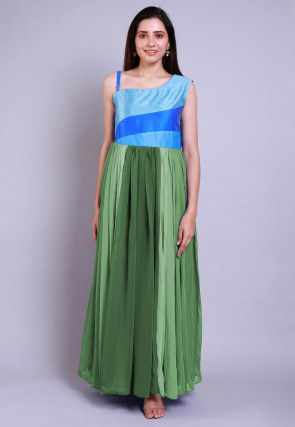 Ombre Georgette Gown in Shaded Green and Blue