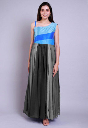 Ombre Georgette Gown in Shaded Grey and Blue