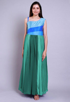 Ombre Georgette Gown in Shaded Teal Green and Blue