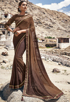 Ombre Georgette Saree in Brown