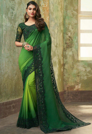 Ombre Georgette Saree in Green