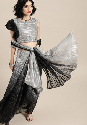 Ombre Georgette Saree in Grey and Black