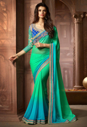 Ombre Georgette Saree in Light Green and Light Blue