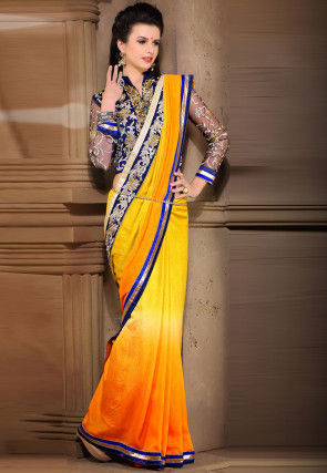 Ombre Georgette Saree in Mustard
