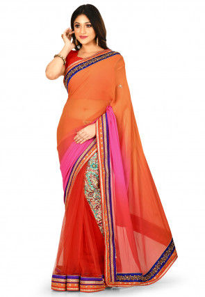 Ombre Georgette Saree in Orange and Fuchsia