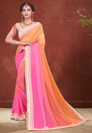 Ombre Georgette Saree in Orange and Pink
