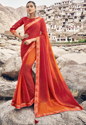 Ombre Georgette Saree in Red and Orange