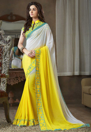 Ombre Georgette Saree in Yellow and Off White