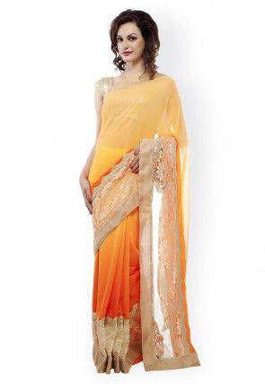 Ombre Georgette Saree in Yellow and Orange