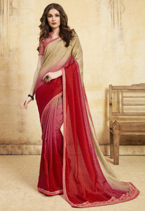 Ombre Kota Silk Jacquard Saree in Red and Beige