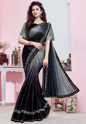 Ombre Lycra Saree in Shaded Grey and Black