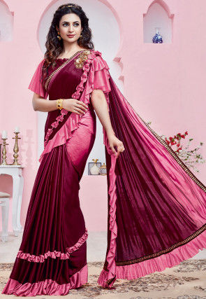 Ombre Lycra Saree in Shaded Magenta and Pink