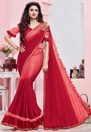 Ombre Lycra Saree in Shaded Peach and Red