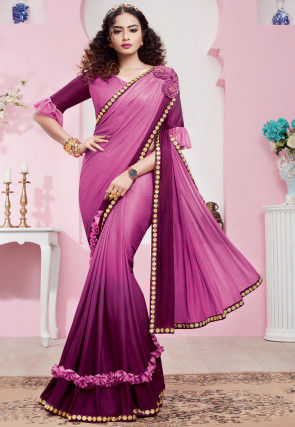 Ombre Lycra Saree in Shaded Pink and Purple