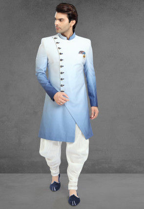 Ombre Lycra Sherwani in Shaded Blue