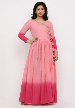 Ombre Mulmul Cotton Angrakha Style Gown in Ombre Baby Pink