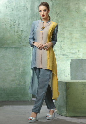 Ombre Muslin Cotton Kurti with Pant in Multicolor and Blue